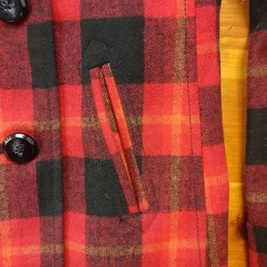 Old Navy Jackets & Coats - Old Navy Red & Black Plaid Wool Blend Pea Coat